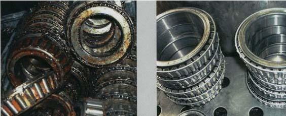 珠江钢铁厂用TM-26高效脱脂剂清洗轴承前后对比.jpg
